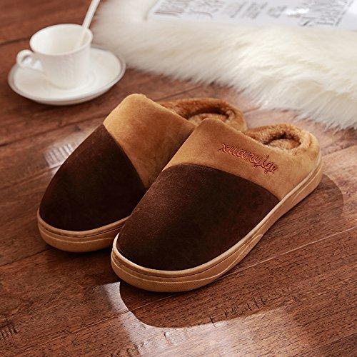 Inverno fankou pantofole di cotone femmina maschio inverno pacchetto con fondo spesso home giovane interno Non-slip home inverno, 40-41 (consigliato 39-40 usura), un colore caffè