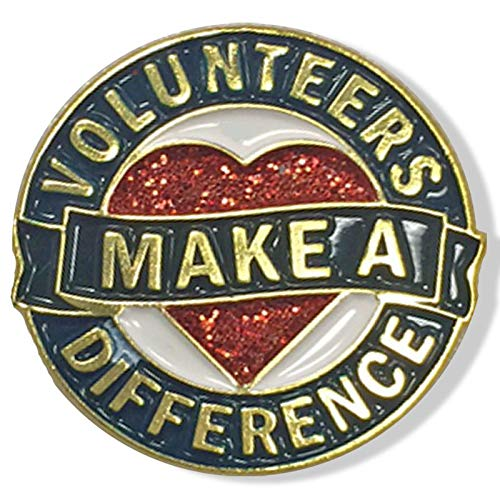 (1 Inch Diameter Die Struck Brass Plated Volunteers Make A Difference Heart Lapel Pin - Pack of 12)