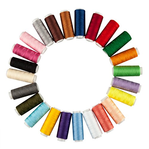 TRIXES X 24 Assorted Coloured Cotton Sewing Thread Reels