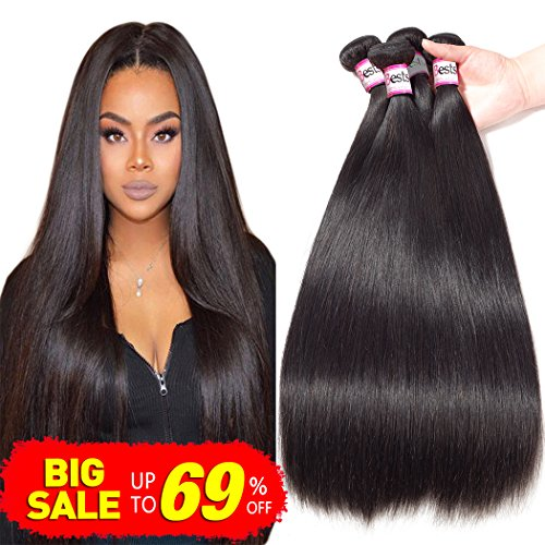 Bestsojoy 10A Brazilian Virgin Hair Straight 4 Bundles Brazilian Human Hair Extensions 100% Unprocessed Human Hair Weave Natural Color (20 22 24 26)