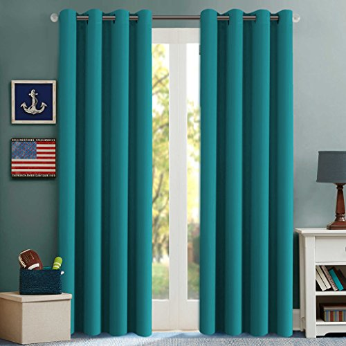 2 Panels Turquoise Thermal Insulated Blackout Curtains Drape Sliding Patio Door Ebay
