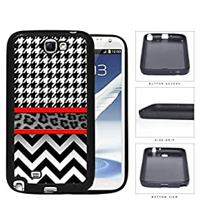 Black And White Hounsdtooth Animal Print Chevron Rubber Silicone TPU Cell Phone Case Samsung Galaxy Note 2 II N7100