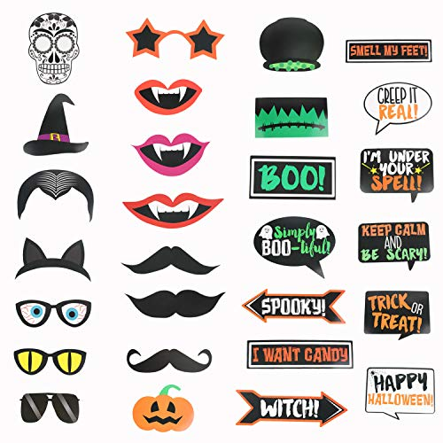 Halloween Photo Booth Props Sign Kit - Spooky Skull Mask Death Day Fiesta Décor - Autumn Fall Friday 13th Halloween Selfie Dress-up Props Decoration