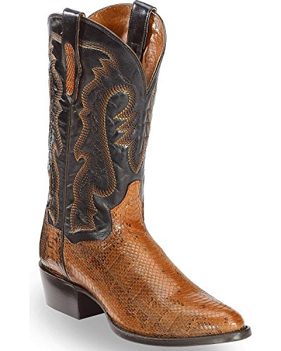- Dan Post Men's Two Tone Water Snake Cowboy Boot Round Toe Cognac 8.5 D