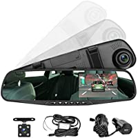 Panlelo PAC30G Car Dash Cam 4.3 Inch LCD Anti-glare Green Screen Vehicle Front Rearview Mirror DVR Auto Video Recorder Full HD Truck Video Camera Dual Lens Dashbord Camera USB Port Car Charger
