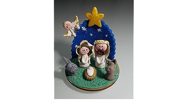 Nacimiento Belen Pesebre Realizado a mano en Porcelana fria Navidad: Amazon.es: Handmade
