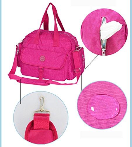 Bolso de la momia, bolso cruzado oblicuo de la madre de la capacidad grande, paquete multi-funcional de las mujeres embarazadas, maternal y niño para ser producido paquete ( Color : Rosa Roja ) Purple