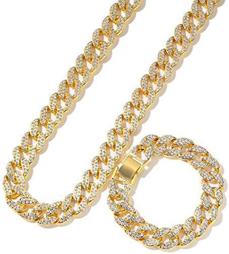 Iced Out Strass Golden Finish Miami kubanischen Gliederkette Armband Halskette Set Herren Hip Hop Schmuck Geschenke,Gold,24inch+8inch