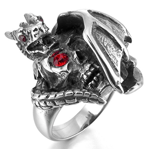[MoAndy Jewelry Mens Stainless Steel Glass Rings Band Silver Skull Dragon Bat Wing Gothic Size 11] (Richard 3 Costume)