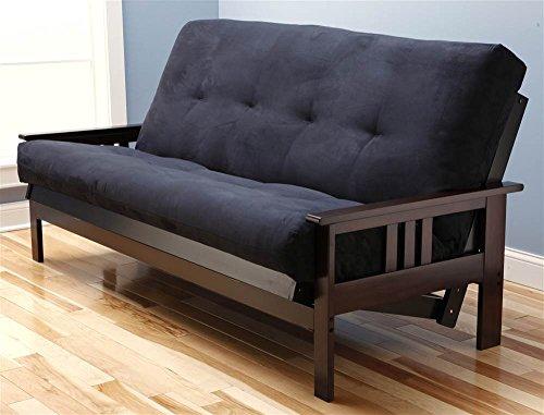 (Monterey Futon Sofa in Espresso Finish with Suede Black Mattress)