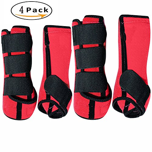 SKYCY Brushing Boot Horse Stable Neoprene Travel Boots Leg Protection Wrap Black - Set of 4 Leg Wraps Safe Direct Contact Treats Sprains Bites Non Slip