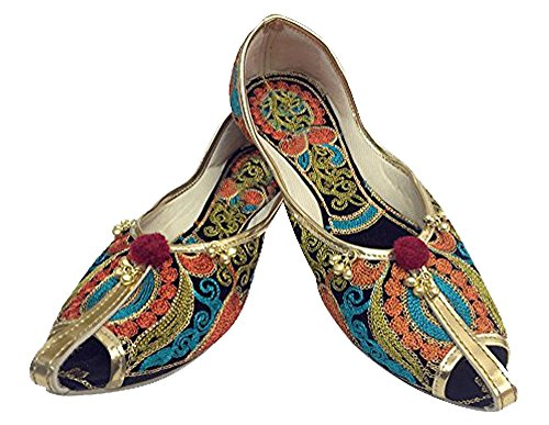 Steg N Style Kvinnor Khussa Jooti Boho Handgjorda Skor Indiska Maharani Mojari Glider På Mångfärgade