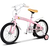 Costzon Kids Bike, Bicycle with Training Wheels & Hand Brake for Boys and Girls (Pink, 12-Inch)