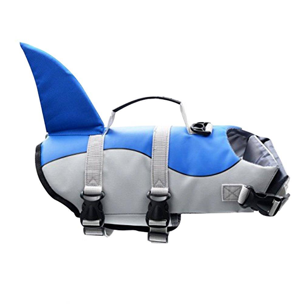 G LAKE Dog Life Jacket Ripstop Adjustable Pet Safety Swimsuit Puppy Saver Swimming Flotation Life Vest Preserver for Small Medium Large Dogs (Blue Shark S)