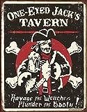 Desperate Enterprises SIGPD1 One Eyed Jacks Tavern Metal Tin Sign, Black