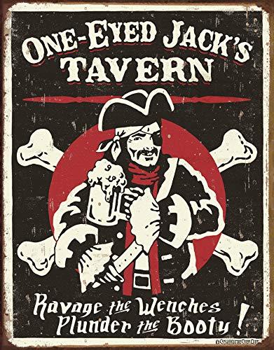 Old Tavern Sign - Desperate Enterprises Schoenberg - One Eyed Jack's Tavern Tin Sign, 12.5