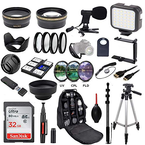 58MM Ultimate Video Camera Accessory Bundle (Mic + Video Light UV, CPL, FLD, Telephoto Lens + Macro Lens Set) for Canon EOS Rebel T7i SL2 T6i T6s T6 T5i T5 T3i 80D 77D 70D 60D 6D Cameras