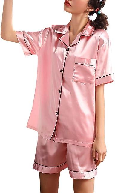 ZEELIY - Conjunto de Pijama de satén de Manga Corta para ...
