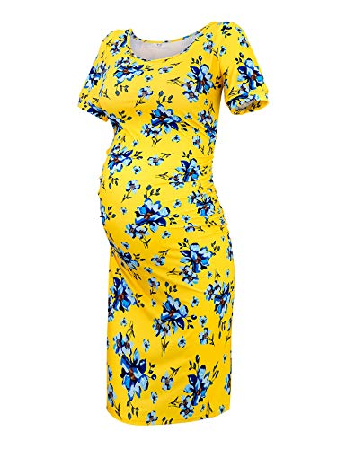 (Maternity Dress Bodycon Ruched Wrap Womens Causual Pregnancy Dresses Floral Yellow L)