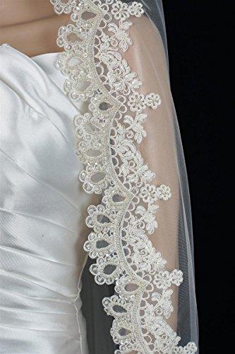 Bridal Wedding Mantilla Veil White 1 Tier Long Knee Length Beaded Lace Edge by Velvet Bridal (Image #4)