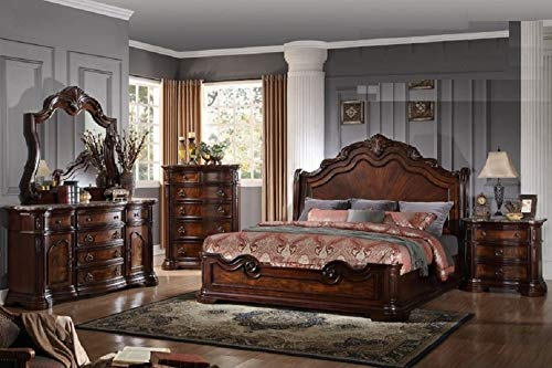 (Esofastore 4pc Antique Traditional Queen Size Bed Head/Footboard Rail Walnut Dark)