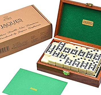Jaques of London Luxurious Dominoes Double 9 Set - Mahogany Cased - Luxury Dominoes Set: Amazon.es: Juguetes y juegos