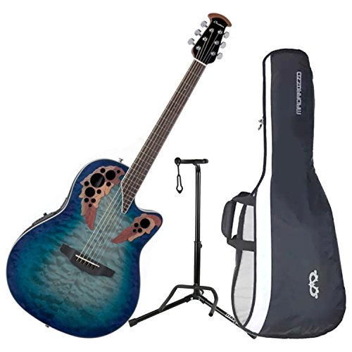 Ovation CE48P-RG Celebrity Elite Plus Super Shallow Regal to Natural Acoustic/Electric Guitar with Gig Bag and Guitar Stand