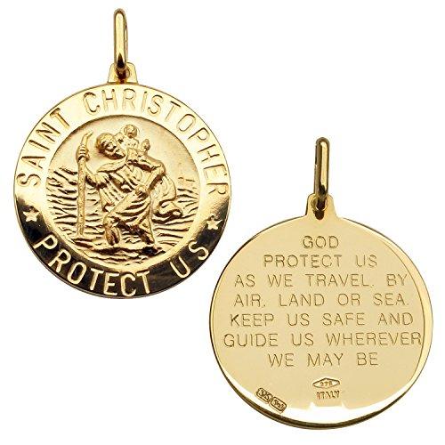 Pendentif Médaille Prière St Christophe Rond avec voyageurs 3D 21mm en or jaune massif 9ct dans une boîte cadeau