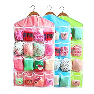 Inspiration 16-Pocket Hanging Closet Organizer Jewelry and Accessories Organizer, Bra Underwear Socks Ties Hanging Organizer,Shower Caddies Random color Vinyl 3 Pack (3 Pack)