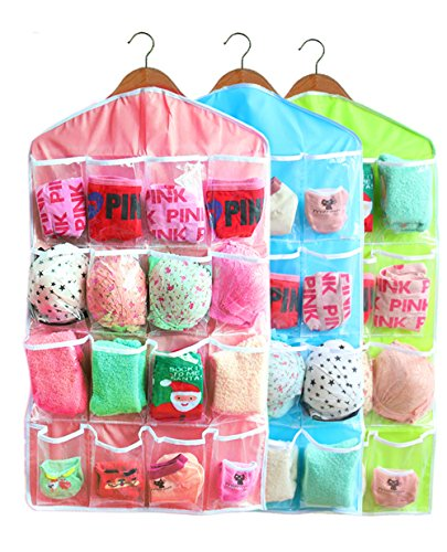 16-Pocket Hanging Closet Organizer Jewelry and Accessories Organizer, Bra Underwear Socks Ties Hanging Organizer,Shower Caddies Random color Vinyl 3 Pack (3 Pack) (Closet Organizers For Kids compare prices)
