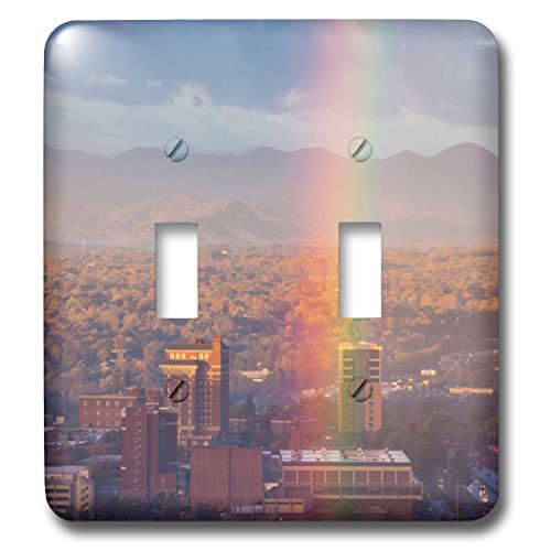 Danita Delimont - North Carolina - North Carolina, Asheville, elevated city skyline with rainbows, dawn - Light Switch Covers - double toggle switch - Asheville Outlets
