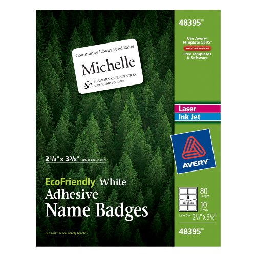 avery ecofriendly name badge labels for laser and ink jet printers