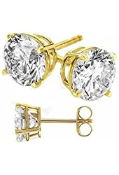 Gold Plated on Authentic 925 Sterling Silver Stud Earrings Round Cubic Zirconia Stones
