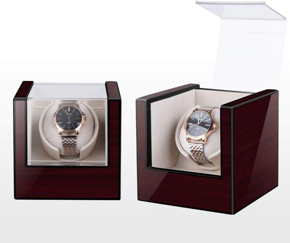 木製 シングル 自動 ワインディングマシーン 1本巻き 家庭 機械式時計 回転 収納ボックス と 静かなモーター、 8つのモード、 ウォッチボックス (Color : B)