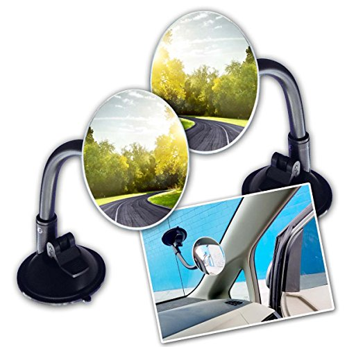 Zone Tech Adjustable Round Blind Spot Mirror - 2-Pack Long Arm HD Glass Convex Wide Angle Rear View Universal Fit Lens