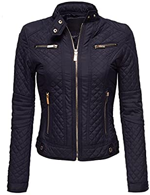 Luna Flower Women's Winter Warm Quilted Padding Fur Lined Slim Fit Moto Jackets