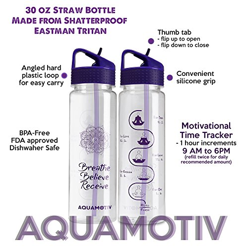 """30oz Flip Straw """"Breathe, Believe, Receive"""" Affirmation Water Bottle with Motivational Time Tracker 