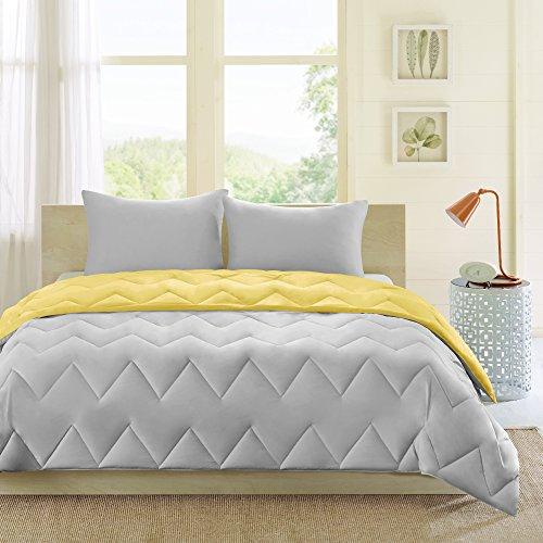 Intelligent Design Trixie Reversible Down Alternative Comforter Mini Set, Grey/Yellow, Full/Queen (Yellow Bright Comforter)
