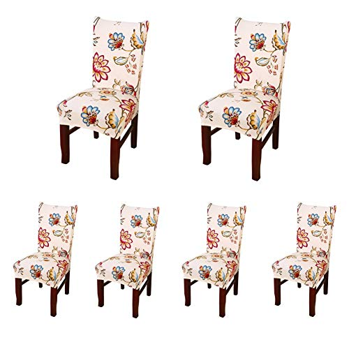 My Decor Super Fit Stretch Removable Washable Short Dining Chair Protect Cover Slipcover Style 42, 6 Pack