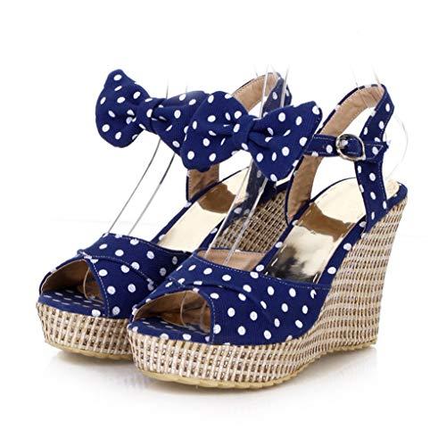 Nafanio Women Wedge Platform Sandals Bowknot Ankle Strap Peep Toe Polka Dot Ladies Summer Casual Solid Outdoor High Heel Slingback Sandal