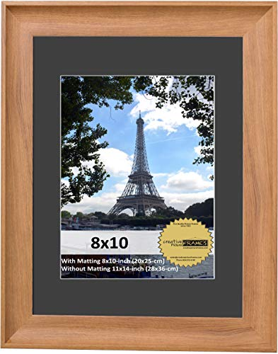 CreativePF [eco-ash3443] 11x14-inch Matted Natural Wood Finish Picture Frame with White Mat, Photo Frames Hold 8 x 10 Media Including Installed ()