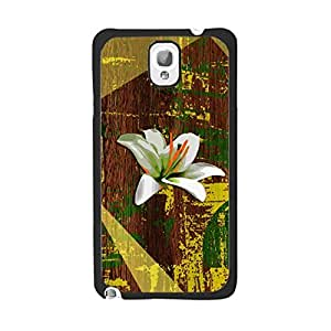 Customized Wood-print Pattern Protective Cell Phone Cover Case for Samsung Galaxy Note3 N9005 ,Hard Plastic Shell Back Phone Case (lily flowr black ju5234)