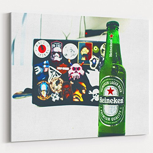 Westlake Art Beer Bottle - 16x20 Canvas Print Wall Art - Canvas Stretched Gallery Wrap Modern Picture Photography Artwork - Ready to Hang 16x20 Inch (362D-28157) (Heineken Beer Label)