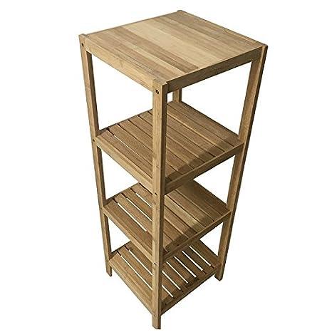 Amazon.com: Hoiss Natural Bamboo Shelf Wood 2-Tier 4-Tier 5-Tier ...