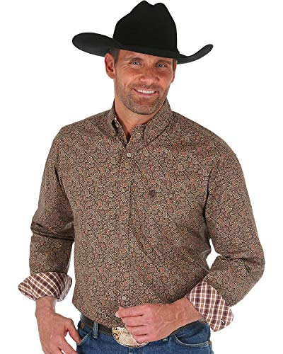 Wrangler Men's George Strait Floral Print Shirt Tan X-Large - Mens Brown Wrangler