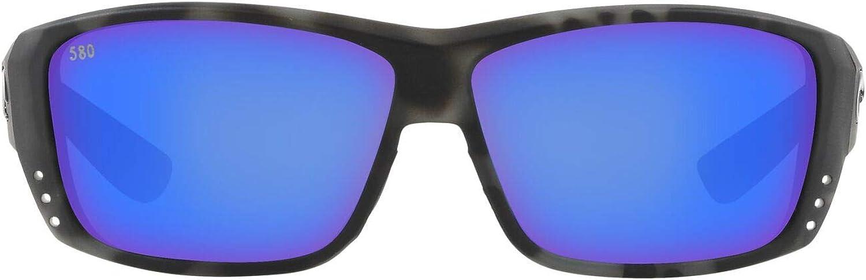 Costa Del Mar Men's Cat Cay Polarized Rectangular Sunglasses, Ocearch Shiny Tiger Shark/Grey Blue Mirrored Polarized-580G, 61 mm