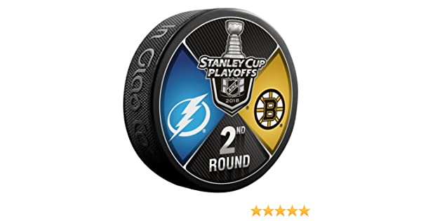 The Hockey Company 2018 Stanley Cup Playoffs 2nd Round Puck Dueling Teams Bruins VS Lightning 2ND Round Boston Tampa Bay