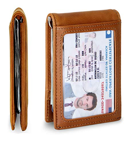 Travel Wallet RFID Blocking Bifold Slim Genuine Leather Thin Minimalist Front Pocket Mens Wallets with Money Clip - Made From Full Grain Leather (Dark Caramel 1.S) (Wallet Flip Bifold)