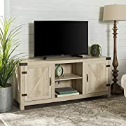 "Walker Edison Furniture Company Farmhouse Barn Wood Universal Stand for TV's up to 64"" Flat Screen Living Room Storage Cabinet Doors and Shelves Entertainment Center, White"