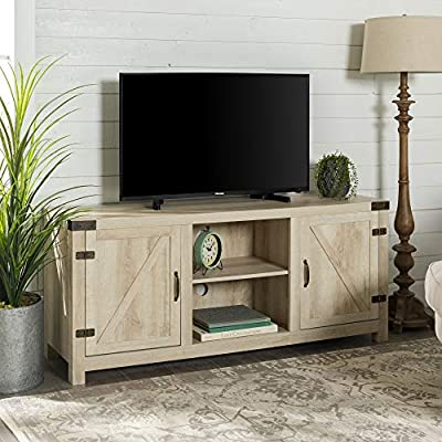 """WE Furniture Farmhouse Barn Door Wood Stand for TV's up to 64"""" Living Room Storage, 58 Inch, White Oak - Dimensions: 25"""" H x 59"""" L x 16"""" W Cable management features to run cords in the back of the TV stand Made from high-grade certified MDF for long-lasting construction - tv-stands, living-room-furniture, living-room - 51oRW8mjYhL. SS400  -"""